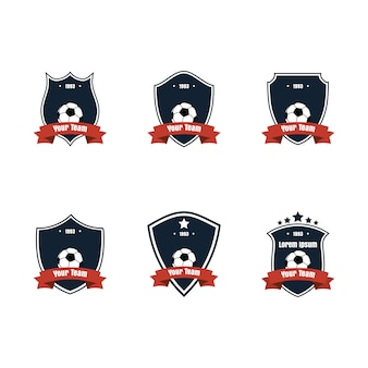 Flaches design fußball oder fußball-symbol oder logo set