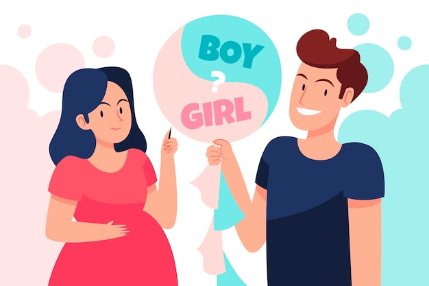 Flaches design gender enthüllen konzept illustration