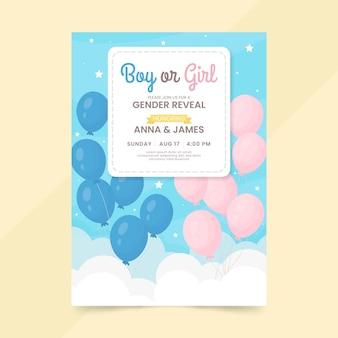 Flaches design gender-enthüllung einladungsvorlage