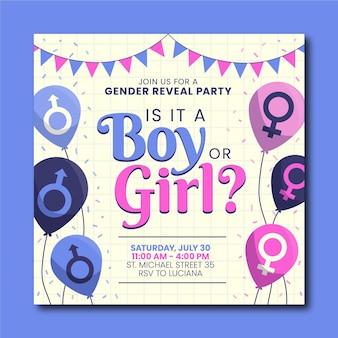 Flaches design gender-enthüllungseinladungsvorlage