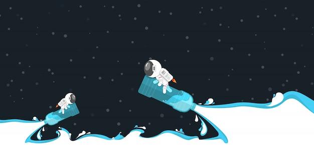 Flaches design, genießender astronaut während fahrt auf wasserflaschenplastik mit wasserkraftspritzen im konzept der erneuerbaren energie