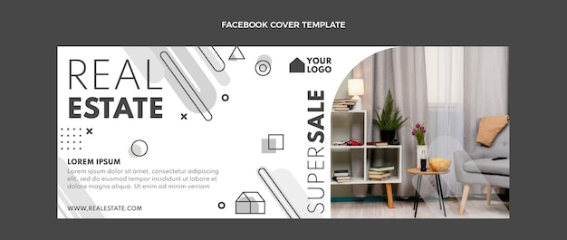 Flaches design geometrisches immobilien-facebook-cover