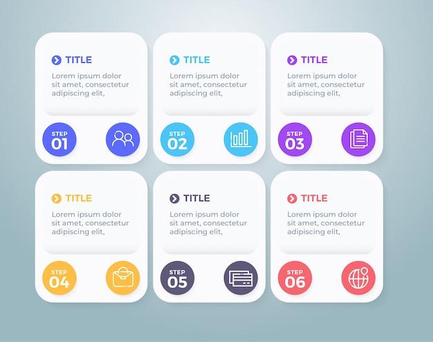 Flaches design geschäft infografik mit 6 optionen