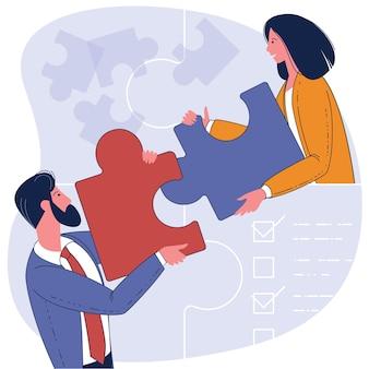 Flaches design-geschäftskonzept. menschen, die puzzle-elemente verbinden. symbol für teamwork, kooperation, partnerschaft.