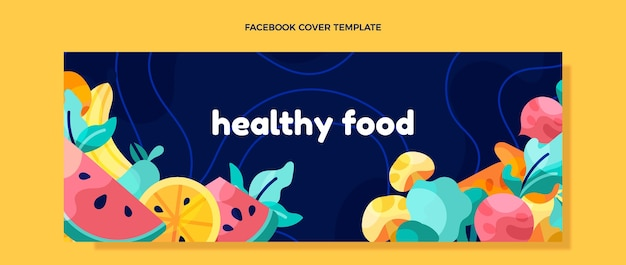 Flaches design gesundes essen facebook-cover