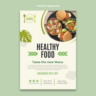 Flaches design gesundes essen poster