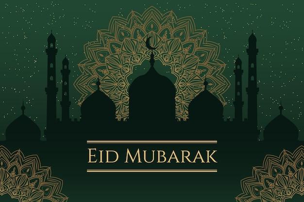Flaches design glücklich eid mubarak moschee in der nacht