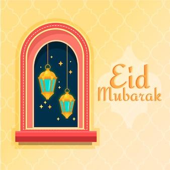 Flaches design glücklich eid mubarak und fenster