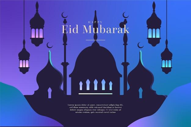 Flaches design glückliche eid mubarak moschee silhouette