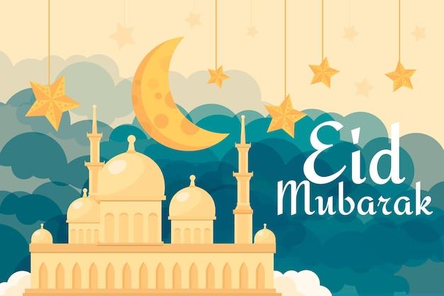 Flaches design glückliche eid mubarak sand moschee