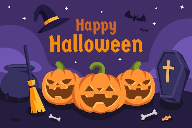 Flaches design glückliche halloween-hintergrund-vektorillustration