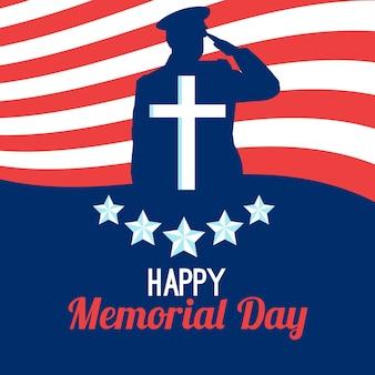 Flaches design glücklicher gedenktagschattenbild des soldaten
