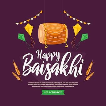 Flaches design glückliches baisakhi-konzept