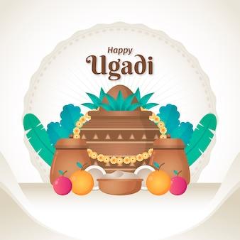 Flaches design glückliches ugadi thema