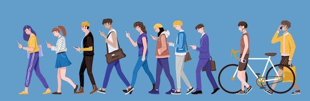 Flaches design, gruppe junger leute, die smartphone, sms und sprechen verwenden.