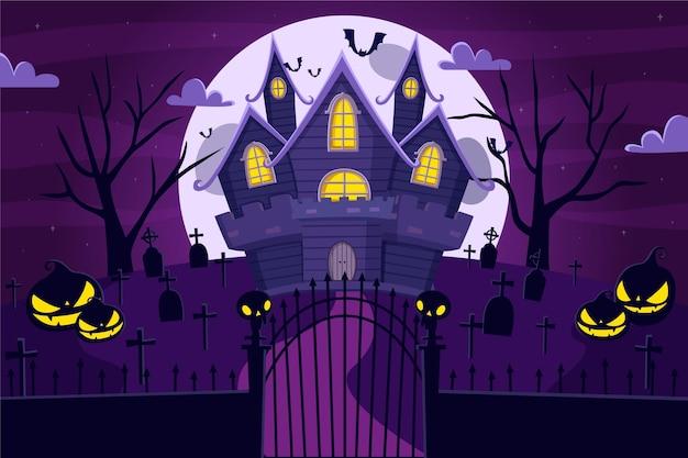 Flaches design gruseliges halloween-haus