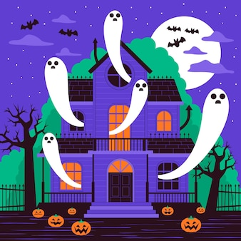 Flaches design gruseliges halloween-haus