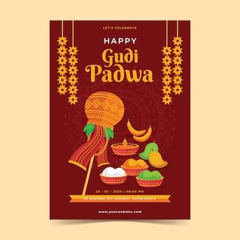 Flaches design gudi padwa poster