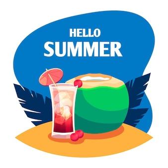 Flaches design hallo sommer mit cocktail