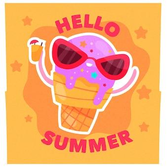 Flaches design hallo sommer stil