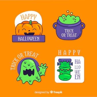 Flaches design halloween abzeichen sammlung