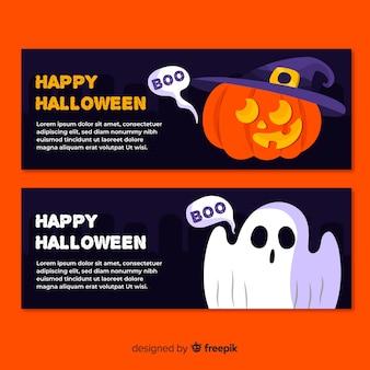 Flaches design halloween banner vorlagen