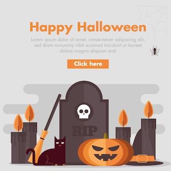 Flaches design halloween banner