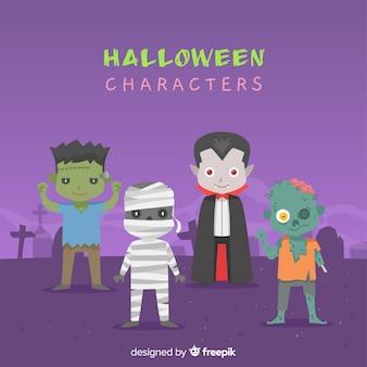 Flaches design halloween charakter sammlung