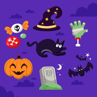 Flaches design halloween-element-set