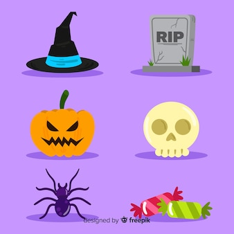 Flaches design halloween elementsammlung
