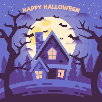 Flaches design halloween haus mit fledermäusen
