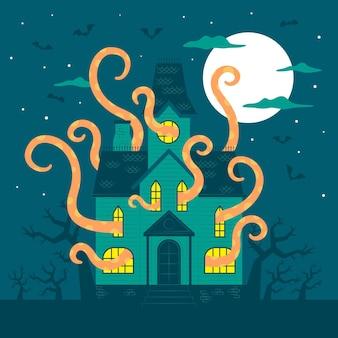 Flaches design halloween-haus mit tentakeln