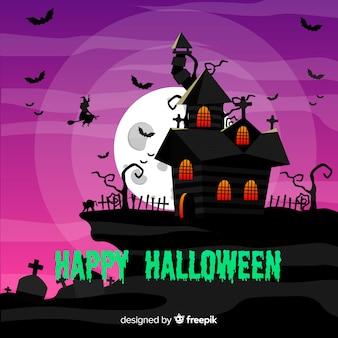 Flaches design halloween-haus