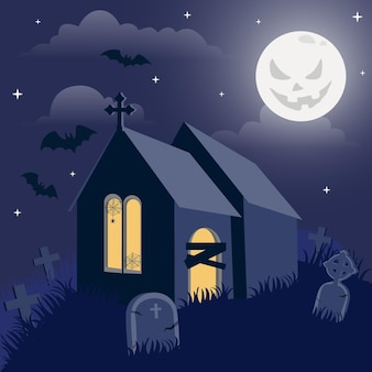 Flaches design halloween haus