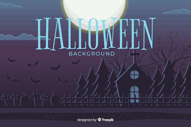 Flaches design halloween hintergrund