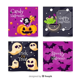 Flaches design halloween kartensammlung