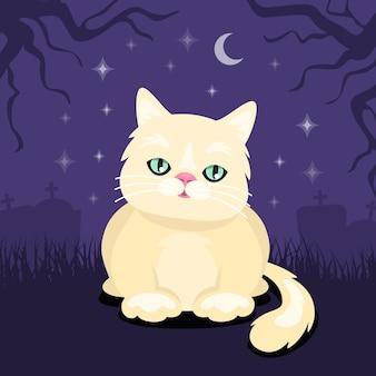 Flaches design halloween-katzenkonzept