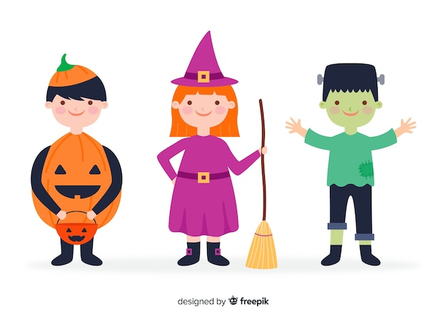 Flaches design halloween kinderkollektion