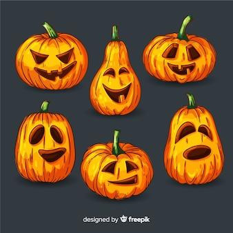 Flaches design halloween kürbis sammlung