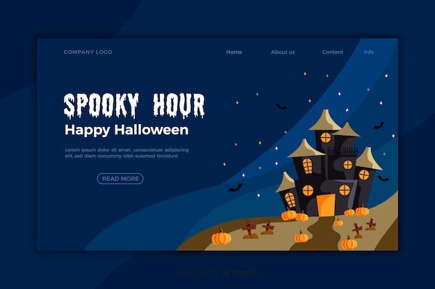 Flaches design halloween landing page vorlage