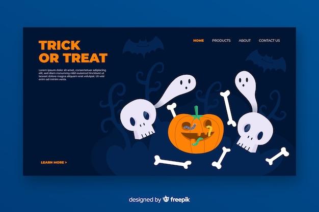 Flaches design halloween landing page