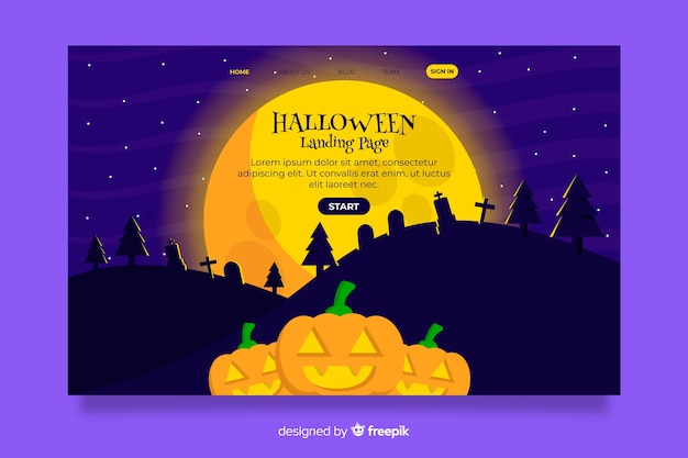 Flaches design halloween landing page