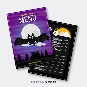 Flaches design halloween menüvorlage