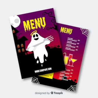 Flaches design halloween menüvorlage