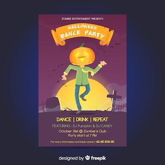Flaches design halloween party plakat vorlage