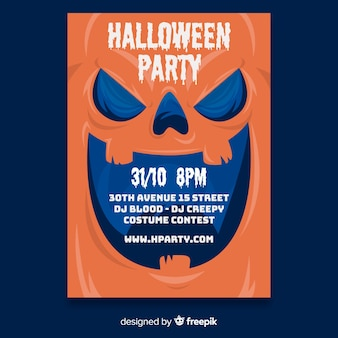Flaches design halloween party plakat vorlage