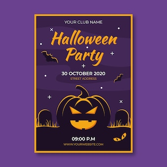 Flaches design halloween party poster mit illustriertem kürbis
