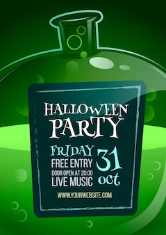 Flaches design halloween party poster