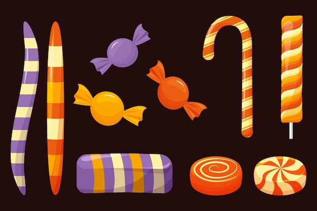 Flaches design halloween süßigkeiten set