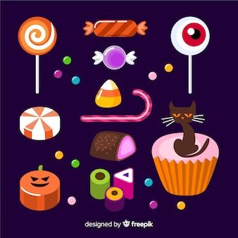 Flaches design halloween-süßigkeitssammlung